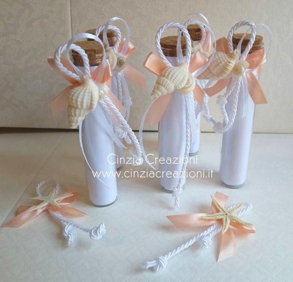 Partecipazione matrimonio bottiglia conchiglie