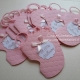 Partecipazioni battesimo forma piedino rosa