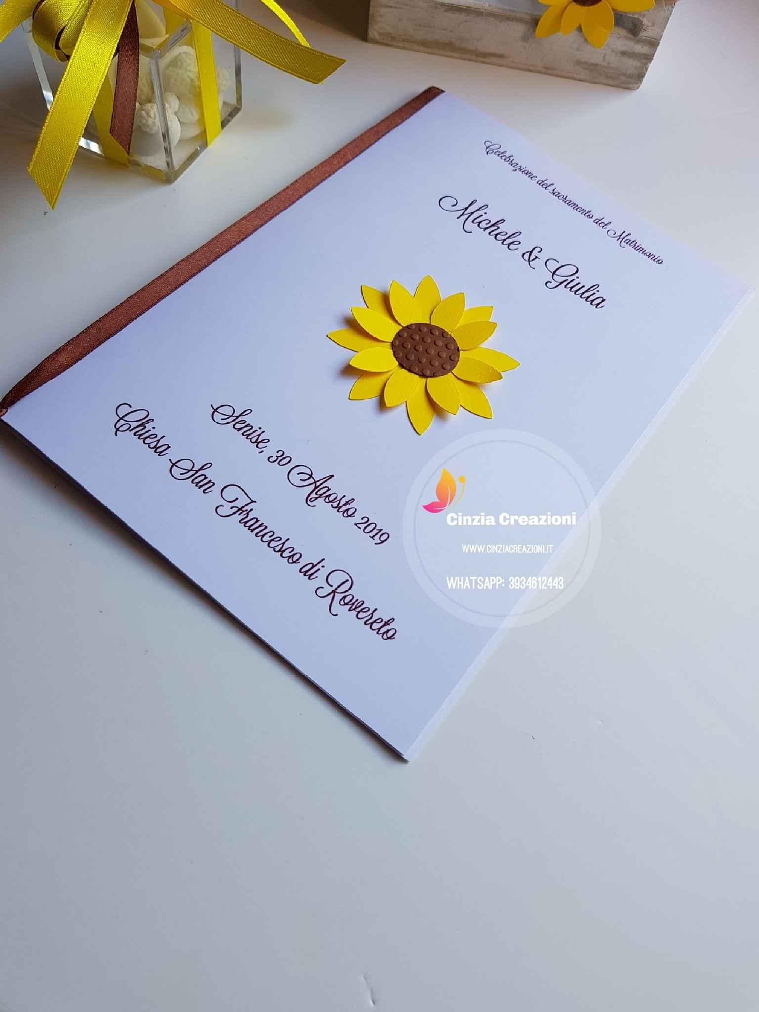 Partecipazioni Matrimonio Con Girasoli : Libretto messa girasole lm020 personalizzabile cinzia creazioni