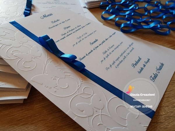 menu per il matrimonio con farfalle