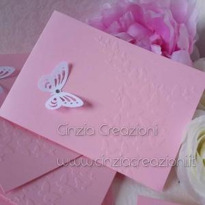 partecipazione battesimo rosa farfalla