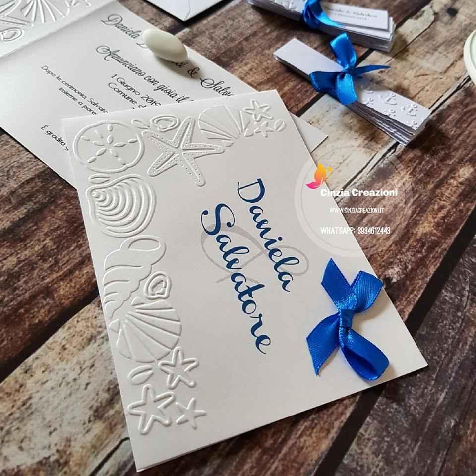 Partecipazioni Matrimonio Tema Mare.Partecipazione Conchiglie Stella Marina Pm034 Cinzia Creazioni