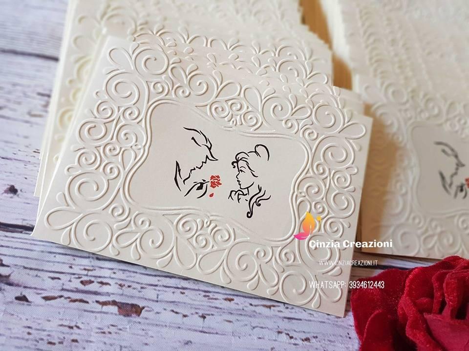 Partecipazioni Matrimonio Disney.Partecipazione La Bella E La Bestia Pe018 Cinzia Creazioni