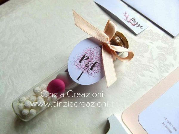porta confetti matrimonio fialetta albero vita tag personalizzata