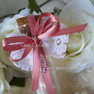 porta confetti matrimonio pizzo fialetta vetro