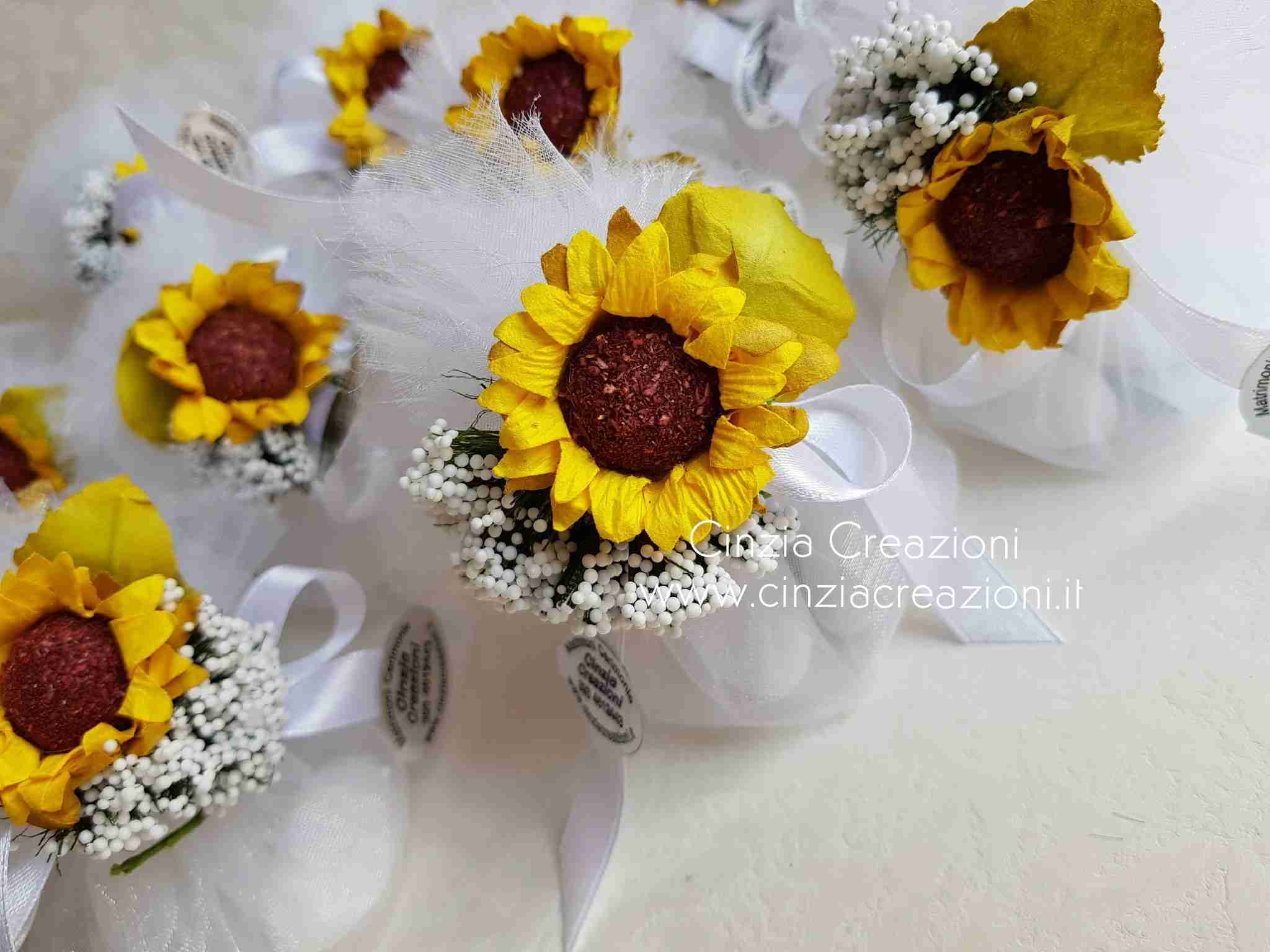 Segnaposto Matrimonio Tema Girasoli : Portaconfetti matrimonio girasole pcm035 cinzia creazioni