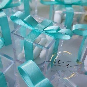 portaconfetti matrimonio scatolina plexiglass fiocco economico