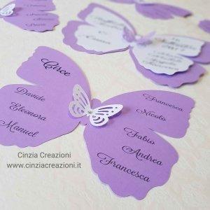 cartellino tableau forma farfalla