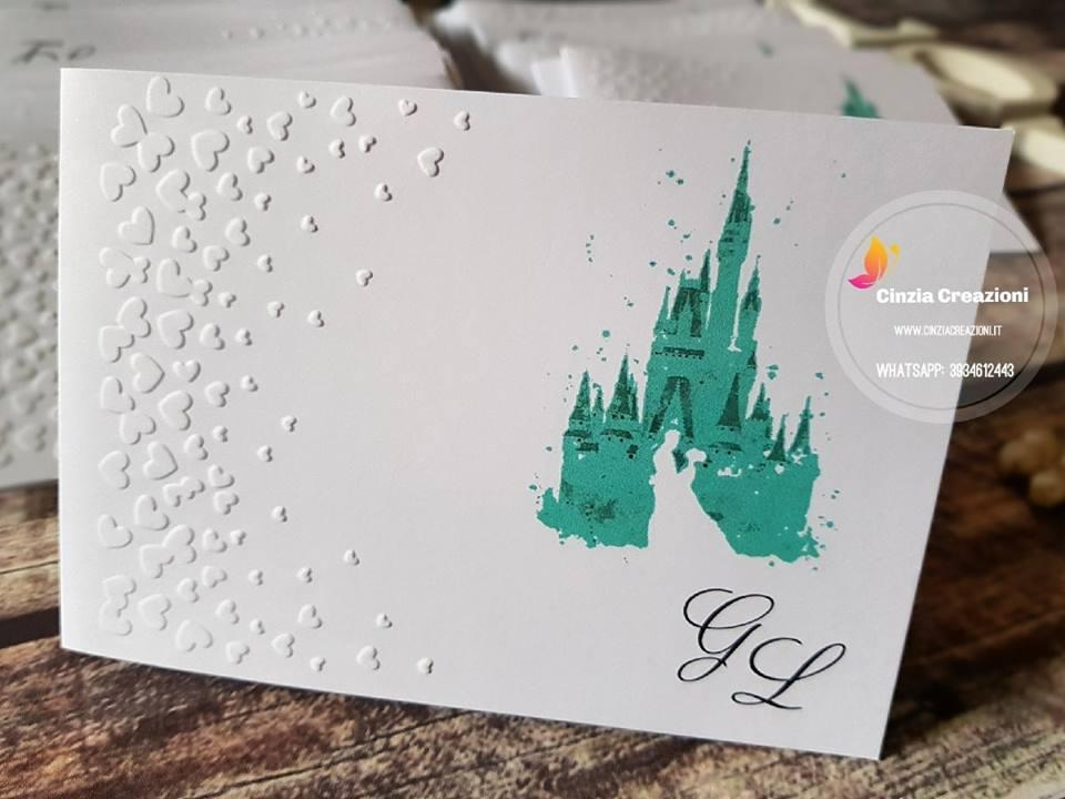 Partecipazioni Matrimonio Walt Disney.Partecipazione Matrimonio Castello Disney Cinzia Creazioni
