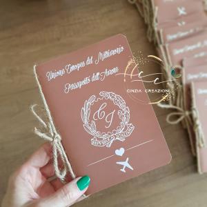 Partecipazione matrimonio passaporto viaggio