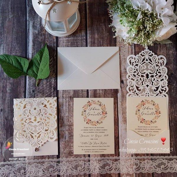 Partecipazioni matrimonio diamante goccia