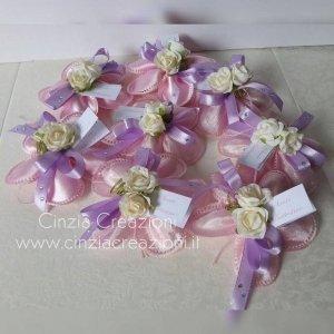 portaconfetti battesimo fiore rosa