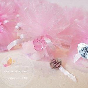 sacchetto portaconfetti battesimo rosa