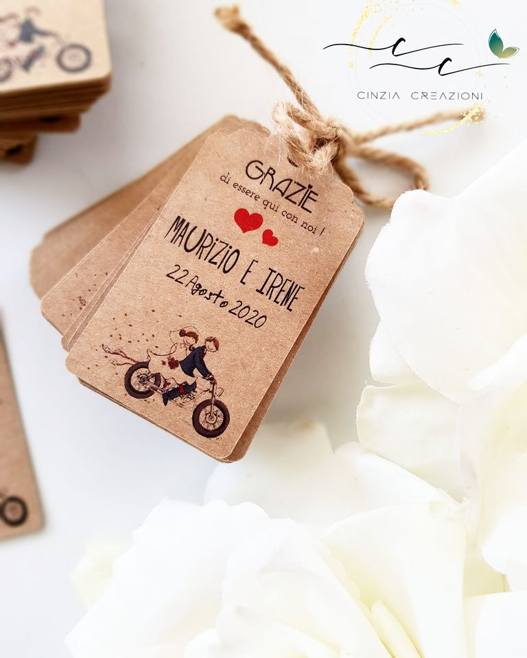 Segnaposto Matrimonio Moto.Tag Moto Sposi Economica Peronalizzabile Cinzia Creazioni