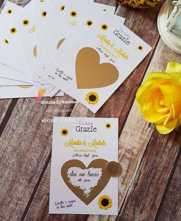 Segnaposto Matrimonio Gratta E Vinci.Lotteria Sposi Tema Girasoli Personalizzabile Cinzia Creazioni