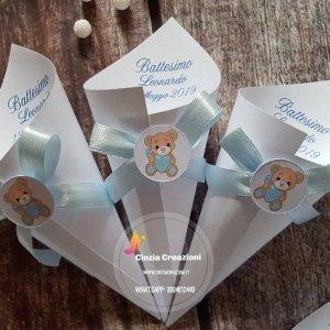 portaconfetti battesimo orsetto